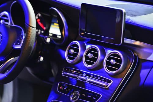 Car audio system and dashboard at CozyCar in Kingston.